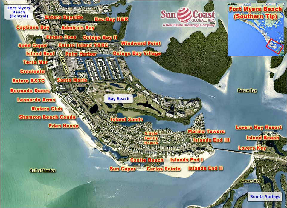 Fort Myers Beach Southern Tip Overhead Map